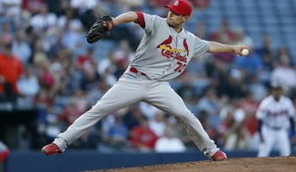 St. Louis Cardinals starting pitcher Tyler Lyons (70) works in the second inning of a baseball game against the Atlanta Braves, Tuesday, May 6, 2014, in Atlanta.  (AP Photo/John Bazemore)
