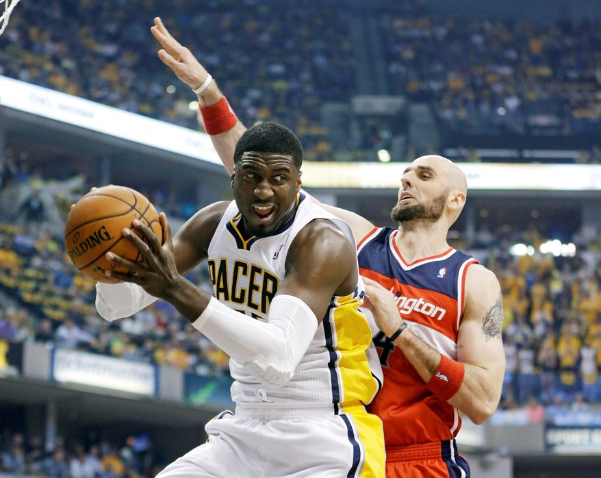 Indiana center Roy Hibbert broke out of a prolonged postseason slump during Game 2 on Wednesday in Indianapolis, scoring a season-high 28 points in the Pacers' 86-82 win over the Wizards. Hibbert was held scoreless in Game 1. (associated press)