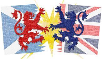 Scotland Brit Split Illustration by Greg Groesch/The Washington Times