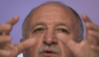 Brazil's soccer coach Luiz Felipe Scolari speaks during a news conference after announcing his list of players for the 2014 Soccer World Cup in Rio de Janeiro, Brazil, Wednesday, May 7, 2014. The team will mix talented young stars such as Neymar and Oscar with more experienced players such as Dani Alves, David Luiz, Thiago Silva and Hulk. (AP Photo/Felipe Dana)
