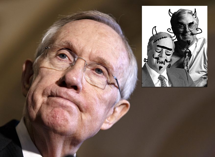 Photo illustration showing Senate Majority Leader Harry Reid of Nev. and a leftist attack on David and Charles Koch