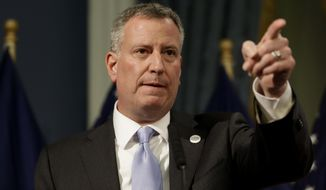 ** FILE ** New York City Mayor Bill de Blasio presents the 2015 city budget at City Hall in New York, Thursday, May 8, 2014. (AP Photo/Seth Wenig, Pool)