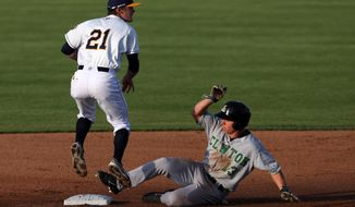 In this photo taken on Wednesday, May 7, 2014, Burlington Bees' Kody Eaves (21) finishes his follow through turning a double play after forcing out Clinton LumberKings's Tyler O'Neill (13) at second base during the second inning of a minor league baseball game at Community Field in Burlington, Iowa. The LumberKings trailed the Bees 17-1 after five innings, but Clinton wound up winning 20-17 in 12 innings. (AP Photo/The Hawk Eye, John Gaines) MAGS OUT