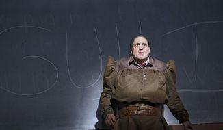 "This image released by Boneau/Bryan-Brown shows  Christopher Sieber as Miss Trunchbull in ""Matilda the Musical."" Sieber has jumped into some big musicals with only seven days' notice. He replaced the knife-throwing Terrence Mann in ""Pippin"" without an audition or even having seen the show. Now he has stepped in to become the new child-hurling Miss Trunchbull. He wears a fat-suit with vest underneath with frozen gel to keep him cool and jumps on a trampoline. (AP Photo/Boneau/Bryan-Brown, Joan Marcus)"