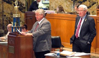 Rep. Steve Pylant, R-Winnsboro, proposes changes to the state's $25 billion operating budget for next year as Appropriations Committee Chairman Jim Fannin, R-Jonesboro, listens on Thursday, May 8, 2014, in Baton Rouge, La. (AP Photo/Melinda Deslatte)