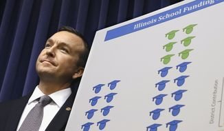 FILE - In this April 2, 2014 file photo, Illinois state Sen. Andy Manar, D-Bunker Hill, introduces an education funding reform bill at the Capitol in Springfield, Ill. School districts in the Chicago and St. Louis suburbs would see major cuts to state aid while downstate schools would see gains under a proposal that would drastically overhaul Illinois' complicated school funding formula for the first time in almost two decades. Manar said the state Board of Education's database detailing the estimated impact to the state's 860 school districts, released Wednesday, May 7, 2014, more clearly illustrates that his proposal would provide equity to rich and poor districts across Illinois. (AP Photo/Seth Perlman, File)