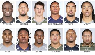 FILE - In these photos provided by the NFL, taken at the NFL Combine in Indianapolis in April  2014, NFL Draft prospects are shown. Top row from left are Jeremiah Attaochu, Georgia Tech; Scott Crichton, Oregon State; Troy Niklas, Notre Dame; Allen Robinson, Penn State; Marcus Smith, Louisville, and Jason Verrett, TCU. Bottom from left are Jimmie Ward, Northern Illinois; Sammy Watkins, Clemson; Lamarcus Joyner, Florida State; Xavier Su'a-Filo, UCLA; Stephon Tuitt, Notre Dame, and David Yankey, Stanford. (AP Photo/Courtesy of NFL)  NO SALES