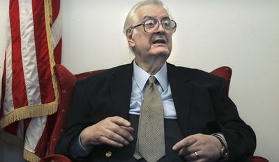 **FILE** Rep. Henry Hyde, R-Ill. is interviewed by The Associated Press on Capitol Hill in Washington in this Dec. 5, 2006, file photo. The office of House Republican Leader John Boehner confirmed Thursday, Nov. 29, 2007, that Hyde has died. He was 83. (AP Photo/Lawrence Jackson, File)
