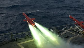 "** FILE ** A U.S. Navy BQM-74E drone launches from the flight deck of the guided missile frigate USS Underwood (FFG 36) during a live fire exercise Sept. 21, 2012, in the Caribbean Sea as part of Unitas Atlantic phase 53-12. Unitas, Latin for ""unity,"" is an annual U.S. Southern Command-sponsored, multinational naval exercise designed to enhance security cooperation and improve coalition operations between South American and U.S. maritime forces. (DoD photo by Mass Communication Specialist 2nd Class Stuart Phillips, U.S. Navy/Released)"