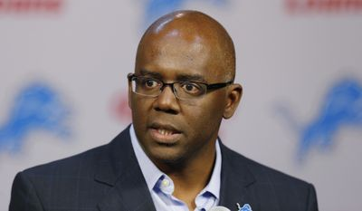 Detroit Lions general manager Martin Mayhew speaks about NFL football first-round draft choice North Carolina tight end Eric Ebron during a news conference in Allen Park, Mich., Friday, May 9, 2014. (AP Photo/Paul Sancya) **FILE**