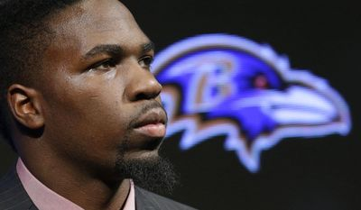Linebacker C.J. Mosley, the Baltimore Ravens' first-round draft pick, listens to a reporter's question during an NFL football news conference, Friday, May 9, 2014, at the team's practice facility in Owings Mills, Md. Mosley was selected 17th overall in Thursday night's draft. (AP Photo/Patrick Semansky)