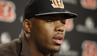 Cincinnati Bengals second round draft pick Jeremy Hill (2), a running back from LSU, answers questions during a news conference, Saturday, May 10, 2014, at the NFL football team's stadium in Cincinnati.  (AP Photo/Al Behrman)