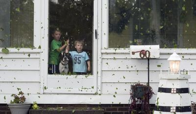Jace Hearvin, 5, and his brother, Eli, 2, look outside their grandmother's home after a storm in Evansville, Ind., Friday, May 9, 2014. (AP Photo/The Evansville Courier & Press, Denny Simmons)