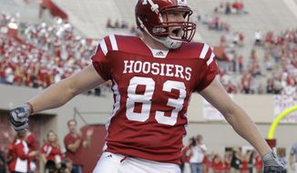 Indiana tight end Ted Bolser (83) reacts during an NCAA college football game against the Akron in Bloomington, Ind., Saturday, Sept. 25, 2010. (AP Photo/Darron Cummings)