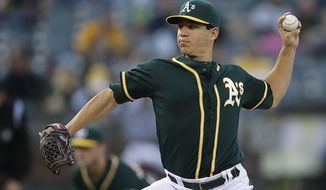 Oakland Athletics' Tommy Milone works against the Washington Nationals in the first inning of a baseball game on Friday, May 9, 2014, in Oakland, Calif. (AP Photo/Ben Margot)