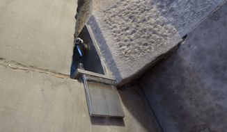 One of 52 panel anchors installed to secure the Pyramidion panels inside of the Washington Monument.