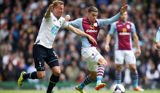Tottenham Hotspur's Harry Kane, left, and Aston Villa's Matthew Lowton during the English Premier League soccer match at White Hart Lane, London, Sunday May 11, 2014. (AP Photo/PA, John Walton) UNITED KINGDOM OUT  NO SALES  NO ARCHIVE