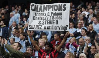 A Manchester City fan holds up a placard during the English Premier League soccer match between Manchester City and West Ham at the Etihad Stadium in Manchester, England, Sunday May 11, 2014.  Manchester City won the Premier League for the second time in three seasons on Sunday, completing its campaign with a comfortable 2-0 victory over West Ham that lacked any of the drama of its previous title.  (AP Photo/Jon Super)