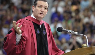 Sen. Ted Cruz, R-Texas, gives the commencement address Saturday, May 10, 2014, at Stephen F. Austin State in Nacogdoches, Texas. (AP Photo/Nacogdoches Daily Sentinel, Andrew D. Brosig)