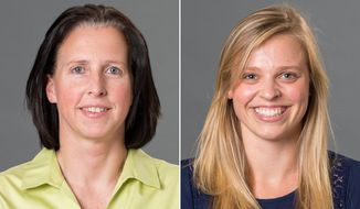 This combination made with photos provided by the University of Richmond shows associate head coach Ginny Doyle, left, and director of basketball operations Natalie Lewis. Doyle and Lewis were two of the three people aboard a hot air balloon that drifted into a power line, burst into flames and crashed on Friday, May 9, 2014, in Virginia. Investigators say their remains were found about a mile apart in dense woods. (AP Photo/University of Richmond, Frank Strauss)