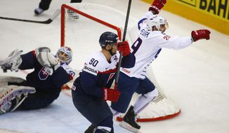 France's Damien Fleury reacts after scoring against Slovakia during the Group A preliminary round match at the Ice Hockey World Championship in Minsk, Belarus, Monday, May 12, 2014. (AP Photo/Sergei Grits)