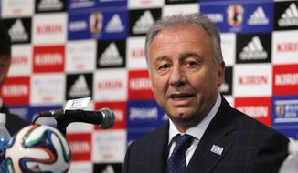 Japan national team coach Alberto Zaccheroni speaks during a press conference as Japan names its World Cup squad in Tokyo, Monday, May 12, 2014. Japan is drawn in a Group C with Ivory Coast, Greece and Colombia at the World Cup in Brazil. (AP Photo/Shuji Kajiyama)