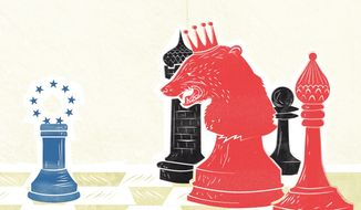 Ukraine Europe Chess Game Illustration by Linas Garsys/The Washington Times