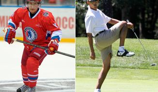 Photo illustration showing Russian President Vladimir Putin in hockey gear and President Barack Obama on the golf course.
