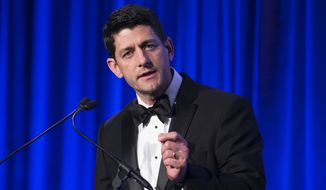 U.S. Rep. Paul Ryan, R-Wis., speaks at the Manhattan Institute for Policy Research Alexander Hamilton Award Dinner, Monday, May 12, 2014, in New York. Ryan and former Florida Gov. Jeb Bush courted some of Wall Street's most powerful political donors Monday night, competing for attention from tuxedoed hedge fund executives gathered in midtown Manhattan as the early jockeying in the 2016 presidential contest quietly continues. (AP Photo/John Minchillo)
