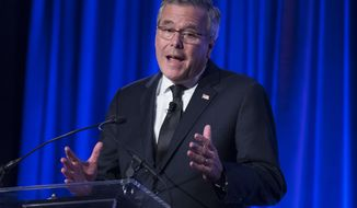Former Florida Gov. Jeb Bush speaks at the Manhattan Institute for Policy Research Alexander Hamilton Award Dinner, Monday, May 12, 2014, in New York. Bush and Rep. Paul Ryan, R-Wis., courted some of Wall Street's most powerful political donors Monday night, competing for attention from tuxedoed hedge fund executives gathered in midtown Manhattan as the early jockeying in the 2016 presidential contest quietly continues. (AP Photo/John Minchillo)