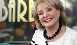 "FILE - This March 26, 2014 photo provided by ABC shows, co-host Barbara Walters on ""The View,"" in New York. On Friday, May 16, 2014, capping a spectacular half-century run she began as the so-called ""Today"" Girl, Walters will exit ABC's ""The View."" Behind the scenes she will remain as an executive producer of the New York-based talk show she created 17 years ago, and make ABC News appearances as events warrant and stories catch her interest.  (AP Photo/ABC, Lou Rocco, File)"