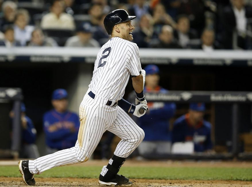 New York Yankees Derek Jeter reacts as he hits into a fourth-inning double play in a baseball game against the New York Mets at Yankee Stadium in New York, Tuesday, May 13, 2014.  (AP Photo)