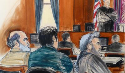 """In this  March 3, 2014, courtroom sketch from files, defense attorney Stanley Cohen, right, sits next to a translator during the jury selection for Cohen's client Sulaiman Abu Ghaith, left, Osama bin Laden's son-in-law, during Abu Ghaith's trial in New York on charges that he conspired to kill Americans and support terrorists in his role as al-Qaida's spokesman after the Sept. 11 attacks. It can be an uncomfortable life for any defense attorney representing unpopular clients, but lawyers who agree to speak on behalf of people accused of plotting to kill Americans in terrorist attacks walk difficult road. Cohen says, """"You get stigmatized. Folks avoid you. You get ostracized. It's terrible for a mate to see terrible publicity, to see you vilified, to avoid social settings because you know it will lead to confrontations."""" (AP Photo/Elizabeth Williams, File)"""