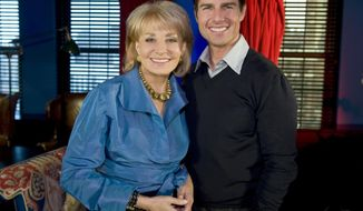 "FILE - In this image released by ABC, Barbara Walters poses with Tom Cruise during an interview for her annual special, ""Barbara Walters Presents: The 10 Most Fascinating People of 2008,"" that aired on Dec. 4, 2008, on ABC. On Friday, May 16, 2014, capping a spectacular half-century run she began as the so-called ""Today"" Girl, Walters will exit ABC's ""The View."" Behind the scenes she will remain as an executive producer of the New York-based talk show she created 17 years ago, and make ABC News appearances as events warrant and stories catch her interest.  (AP Photo/ABC, Steve Fenn, File)"
