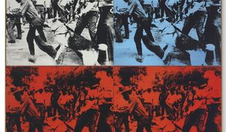"This undated photo provided by Christie's shows Andy Warhol's 1964 ""Race Riot,"" in four parts painted with acrylic and silkscreen ink on linen. It is estimated to sell in the region of $50,000,000 when it is auctioned Tuesday, May 13, 2014, at Christie's in New York. (AP Photo/Christie's)"