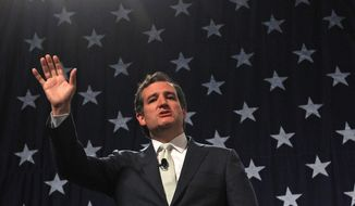 FILE - In this April 25, 2014, file photo, Republican U.S. Sen. Ted Cruz, of Texas,  addresses a crowd during a rally at the Western Republican Leadership Conference in Sandy, Utah. Cruz will visit Ukraine this month and meet with leaders of the protest movement that forced out the country's pro-Russian president, his office said Tuesday, May 13, 2014. (AP Photo/Rick Bowmer, File)