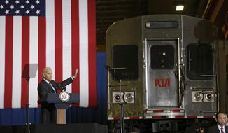 Vice President Joe Biden speaks on infrastructure investment, Wednesday, May 14, 2014, at the Greater Cleveland Regional Transit Authority in Cleveland. Biden stressed the importance of the US spending money on infrastructure to keep roads and bridges safe. (AP Photo)