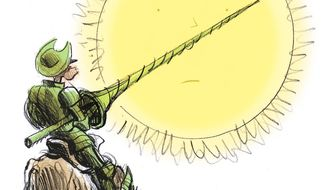 Illustration on the liberal climate change crusade by Alexander Hunter/The Washington Times