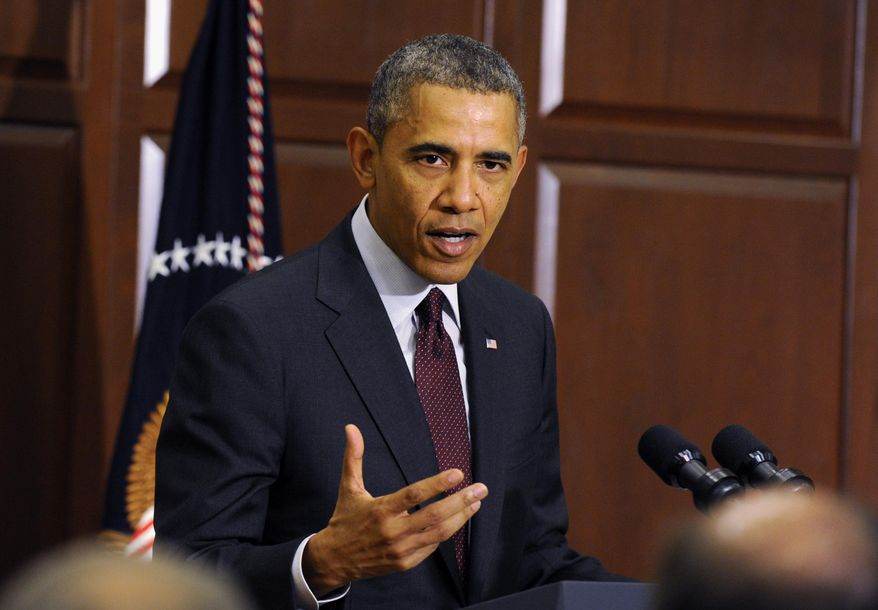 ** FILE ** President Barack Obama speaks during a meeting of law enforcement leaders from across the country to discuss immigration reform, Tuesday, May 13, 2014, in the Eisenhower Executive Office Building on the White House complex in Washington. (AP Photo)