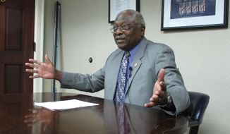 U.S. Rep. Jim Clyburn, D-S.C., talks to reporters in his office on Wednesday, May 14, 2014, in Columbia, S.C. (AP Photo) ** FILE **