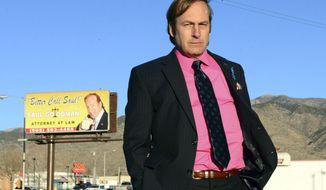 """FILE - This file image released by AMC shows Bob Odenkirk in a scene from the final season of """"Breaking Bad."""" The New Mexico Film Office has announced that """"Breaking Bad"""" spinoff, """"Better Call Saul,"""" will be filmed in Albuquerque. Officials said Wednesday May 14, 2014, that the TV series will be shot in Albuquerque and the production will employ at least 75-90 New Mexico crewmembers.(AP Photo/AMC, Ursula Coyote, file)"""