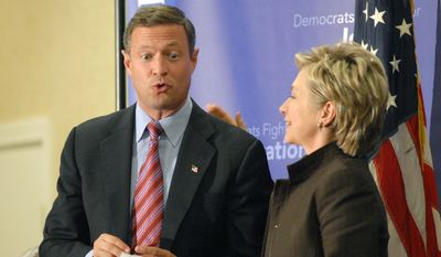 Sen. Hillary Rodham Clinton, D-N.Y., pats Baltimore Mayor Martin O'Malley, left, on the back during a Maryland Democratic Party fundraiser at the University of Maryland on Monday, Sept. 25, 2006, in Adelphi, Md..  (AP Photo/Kevin Wolf)