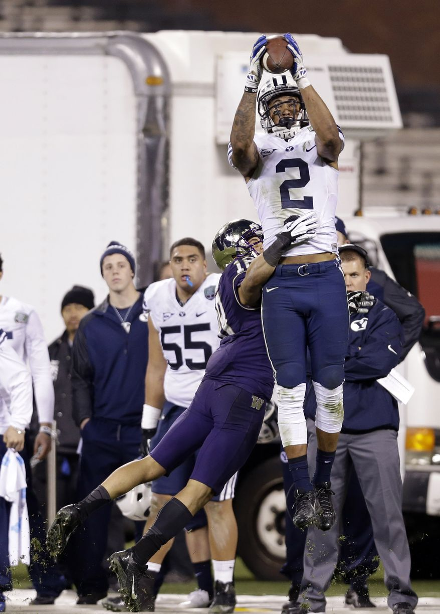 BYU wide receiver Cody Hoffman during second half of the Fight Hunger Bowl NCAA college football game on Friday, Dec. 27, 2013, in San Francisco. (AP Photo/Marcio Jose Sanchez)