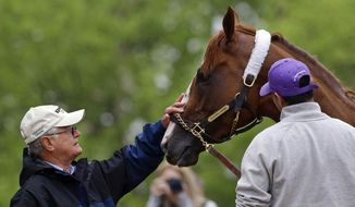 Trainer Art Sherman, left, rubs Kentucky Derby winner California Chrome after a workout at Pimlico Race Course in Baltimore, Wednesday, May 14, 2014. The Preakness Stakes horse race is scheduled to take place May 17. (AP Photo)