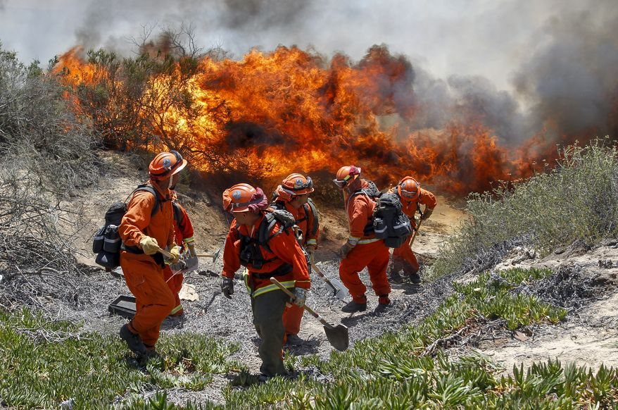 Inmates from Oak Glen Fire Camp in Riverside retreat to higher ground as the flames start to move close while they work to control the fire near Oriole Court in Carlsbad, Calif., Wednesday, May 14, 2014. Thousands were asked to evacuate their homes in Carlsbad after the blaze erupted at about 10:34 a.m. Wednesday and spread through rapidly heavy brush before jumping into residential areas. (AP Photo/U-T San Diego, Hayne Palmour IV)