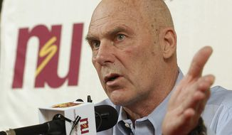 FILE - In this Feb. 27, 2010 file photo, Northern State coach Don Meyer addresses the media after an NCAA college basketball game in Aberdeen, S.D., where he announced he would be retiring. Meyer's family said in a statement Tuesday, May 13, 2014, that his health has been declining over the past several months, and after a three-day stay at a hospital with a feeding tube he is now at home in Aberdeen in hospice care. Meyer retired from coaching in 2010 with a then-NCAA record 923 victories in 38 seasons with Northern State, Lipscomb University in Tennessee and Hamline University in Minnesota. The native of Wayne, Neb., is 69 years old. (AP Photo/Doug Dreyer, File)
