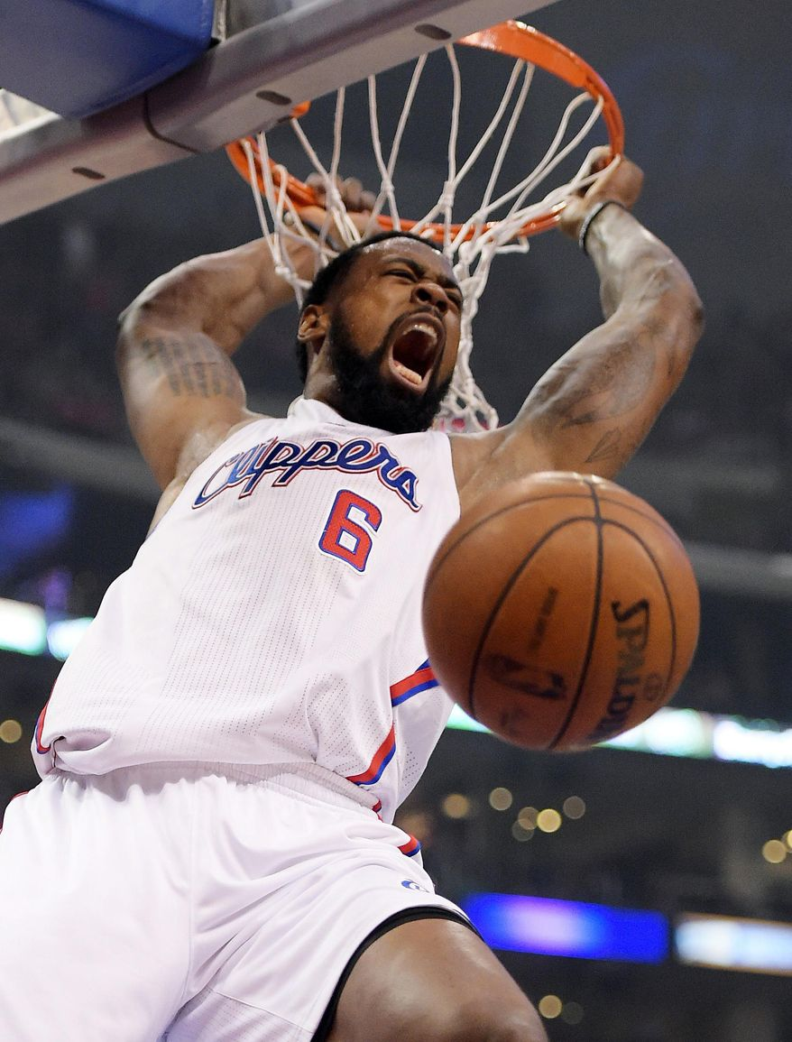 10ThingstoSeeSports - Los Angeles Clippers center DeAndre Jordan dunks in the first half of Game 3 of the Western Conference semifinal NBA basketball playoff series against the Oklahoma City Thunder, Friday, May 9, 2014, in Los Angeles. (AP Photo/Mark J. Terrill, File)