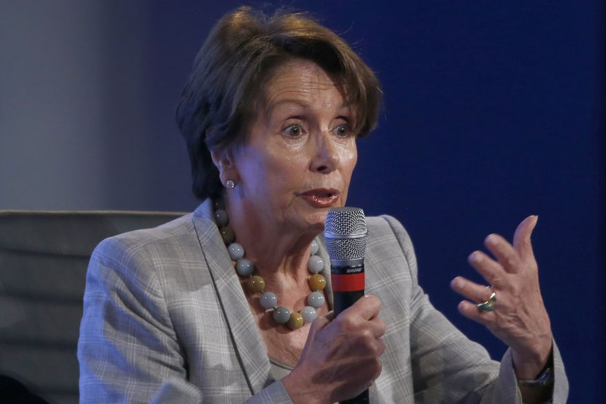 House Minority Leader Nancy Pelosi of California speaks at the 2014 Fiscal Summit organized by the Peter G. Peterson Foundation in Washington, Wednesday, May 14, 2014. (Associated Press) ** FILE **