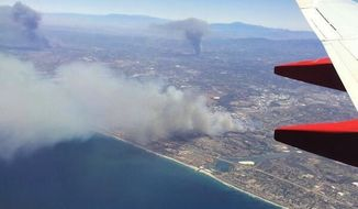 Multiple brush fires have broken out in San Diego County, forcing thousands of people to evacuate from their homes. (Image: Twitter, Tim Ballisty of The Weather Channel)