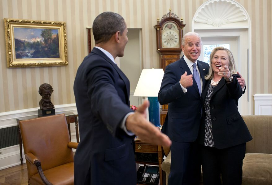 """This is one of those rare instances where my presence indirectly became a part of this reaction from those pictured in the photograph. Secretary of State Hillary Clinton had just accidentally dropped all of her briefing papers onto the Oval Office rug and she, the President and Vice President all reacted in a way that indicated that surely I wouldn't get a photo of that to embarrass her."" (Official White House Photo by Pete Souza)"